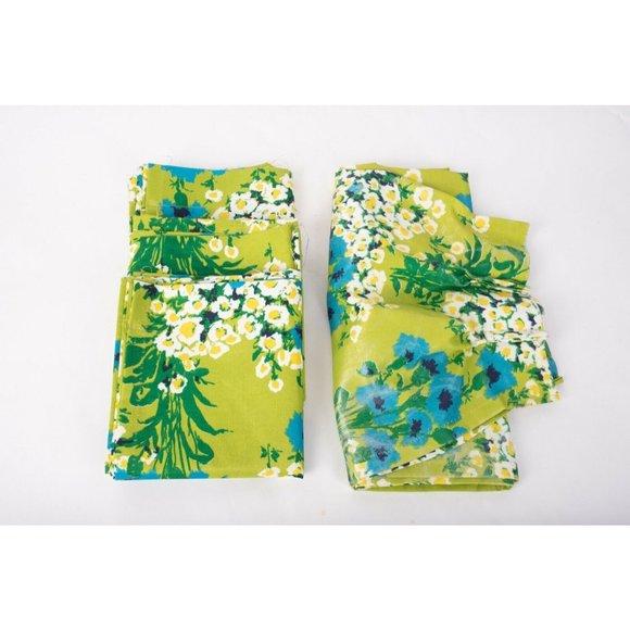 Vintage Retro Mod Curtain Drape Green Blue Floral